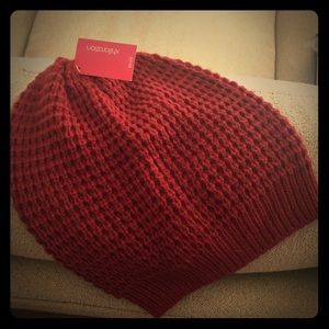 NEW, never been worn 100% acrylic Deep Red beanie